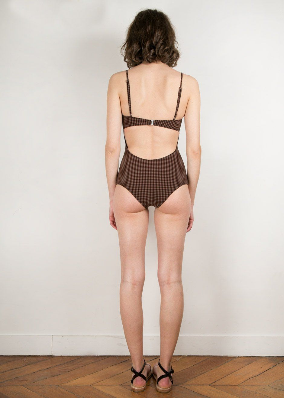 Pale Swimwear Ma  Swimsuit in Brown Gingham