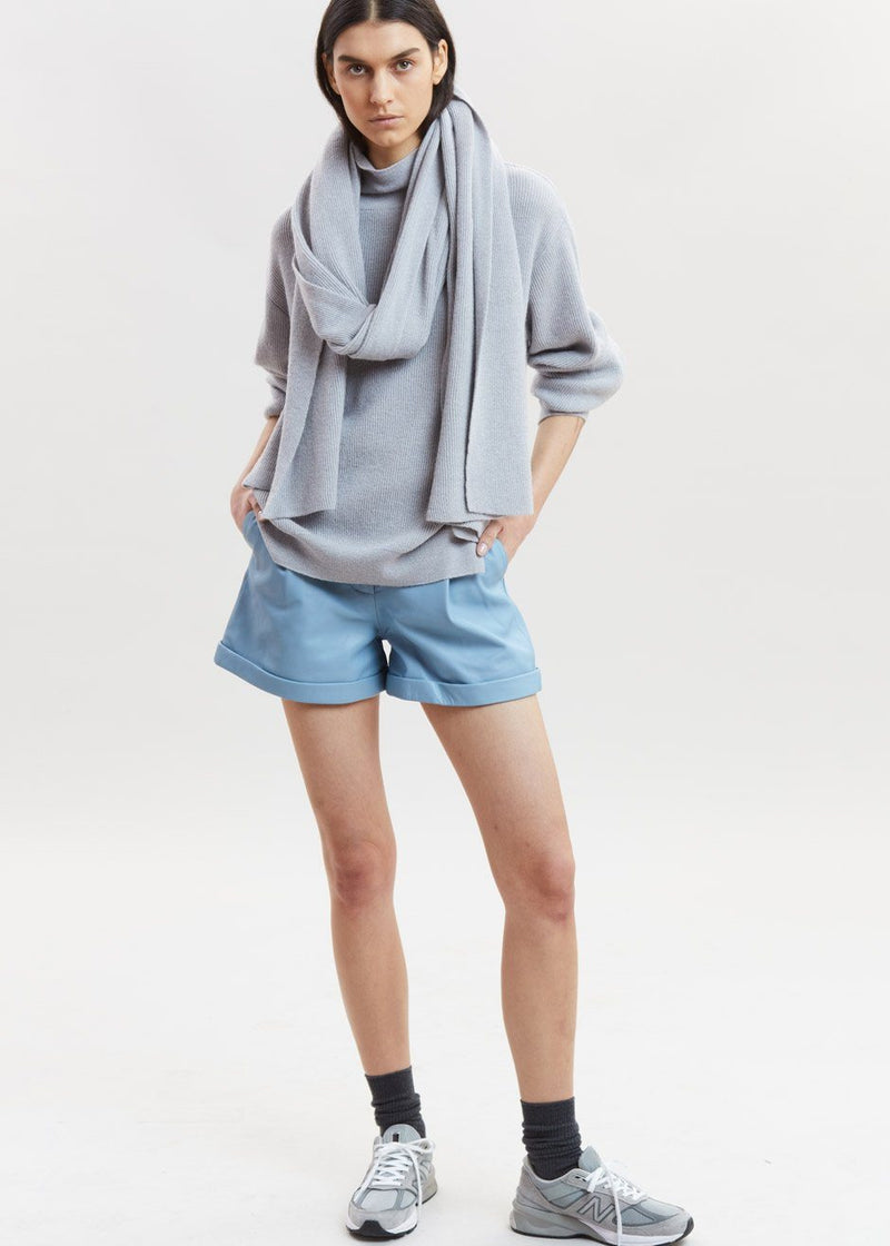 Paola Leather Shorts by Remain Birger Christensen in Ashley Blue Shorts Remain