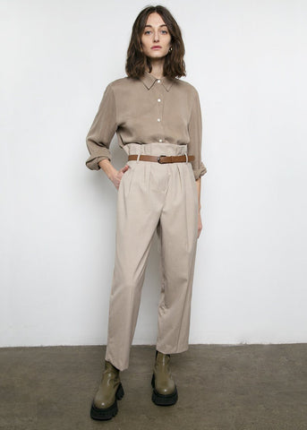 Paperbag Pants with Brown Belt- Oat Beige Pants Mellor