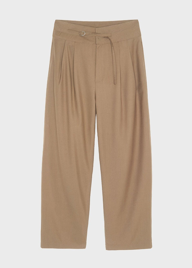 Paperbag Pleat Front Pants in Pale Olive Pants The Frankie Shop