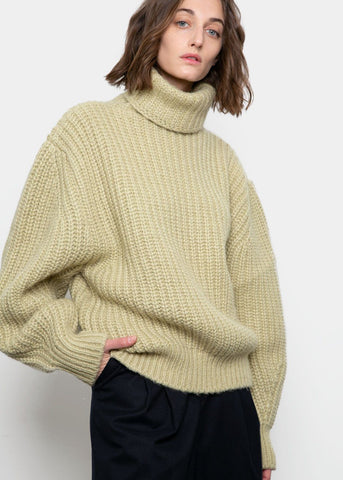 Pastel Green Ribbed Turtleneck Sweater Sweater BPlan