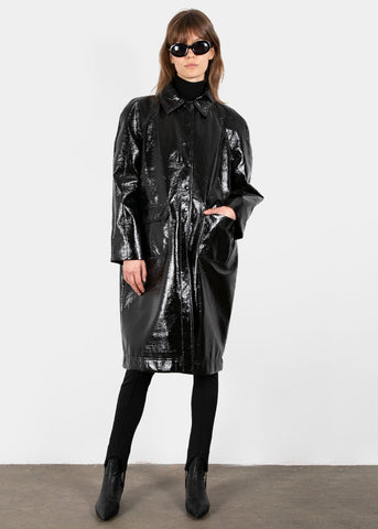 Patch Pocket Crinkle Patent Jacket in Black Coat Sllow