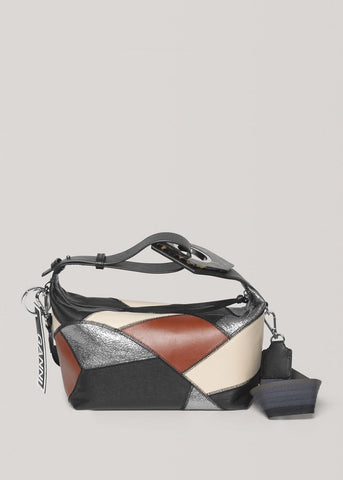 Patchwork Black Leather Bag with Tortoiseshell by Ganni Bags Ganni