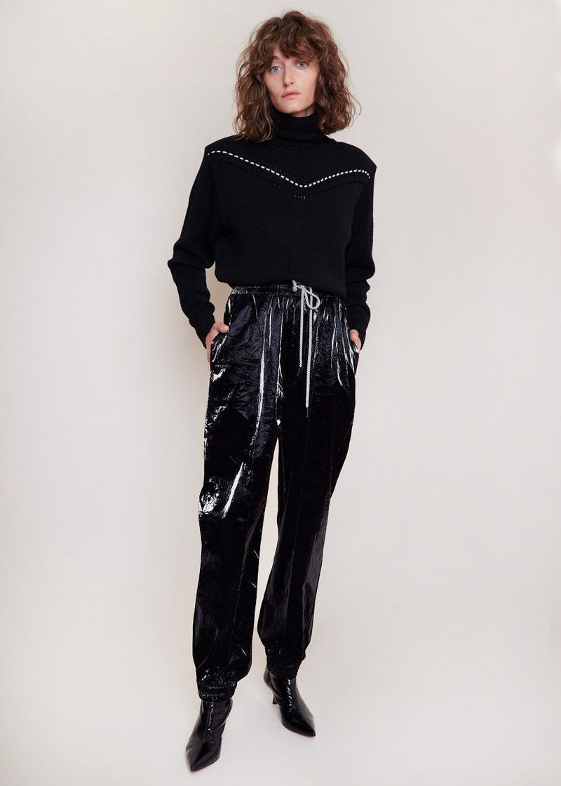Patent Crinkle Joggers in Oil Slick Pants Cafe Noir