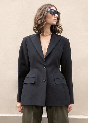 Peak Lapel Hourglass Blazer in Black Blazer More than Yesterday