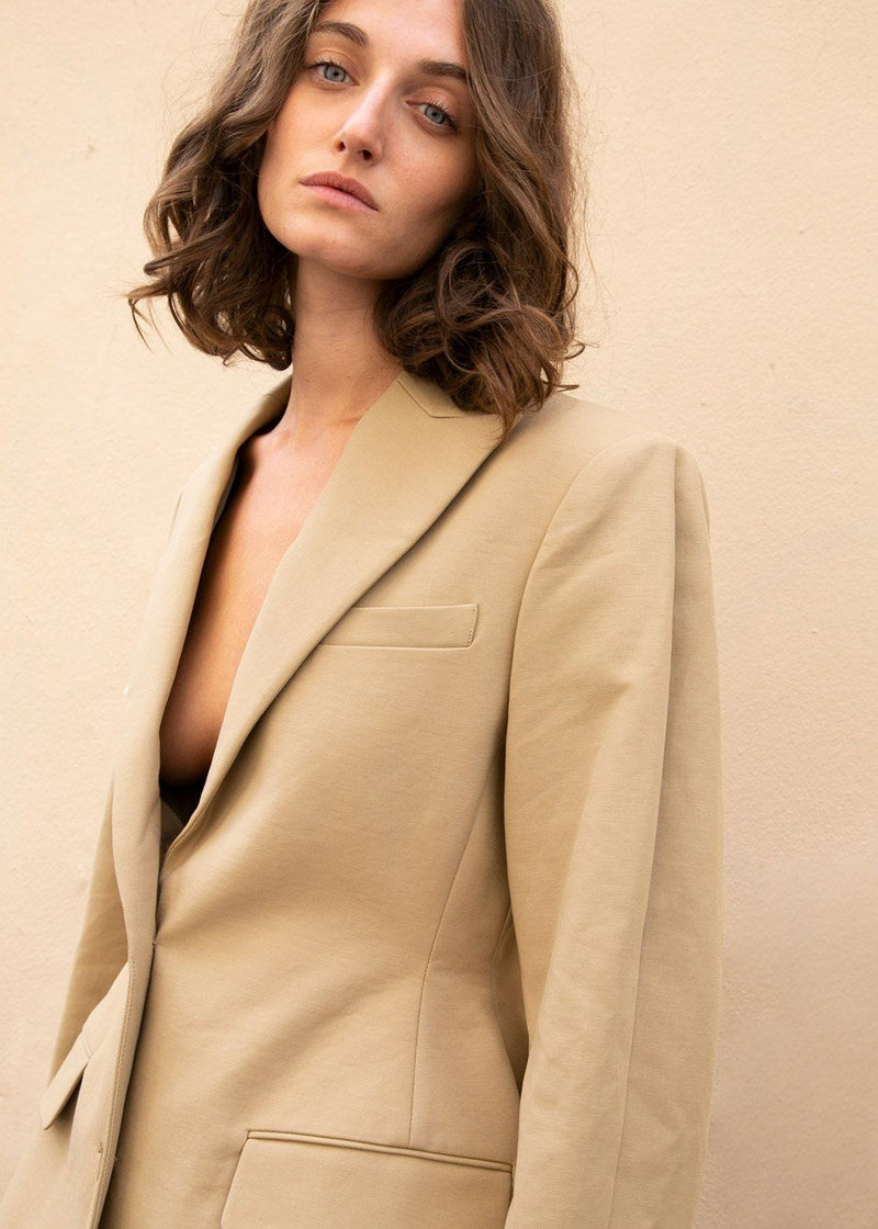 Peak Lapel Hourglass Blazer in Camel Blazer More than Yesterday