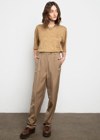 Peanut Brown Pinstriped Suit Pants by Studio Cut Pants Studio Cut