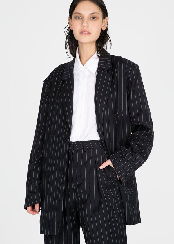 Pernille Boy Blazer in Striped Navy Blazer The Frankie Shop