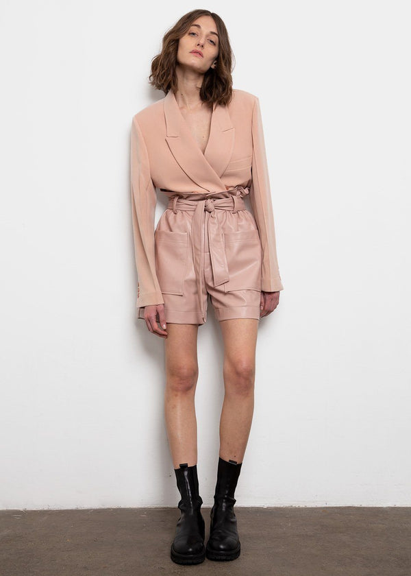 Pink Leather Paperbag Shorts Shorts The Frankie Shop