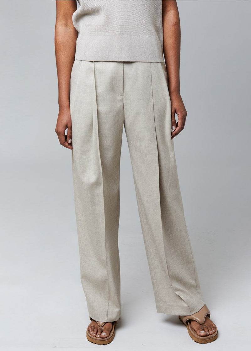 Pintuck Pants by Low Classic in Beige Pants Low Classic