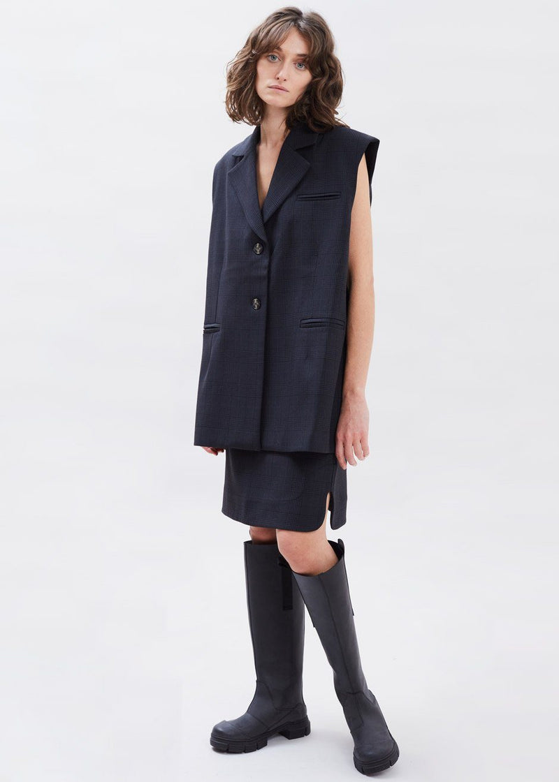 Plaid Oversized Suiting Vest by GANNI in Charcoal Vest Ganni
