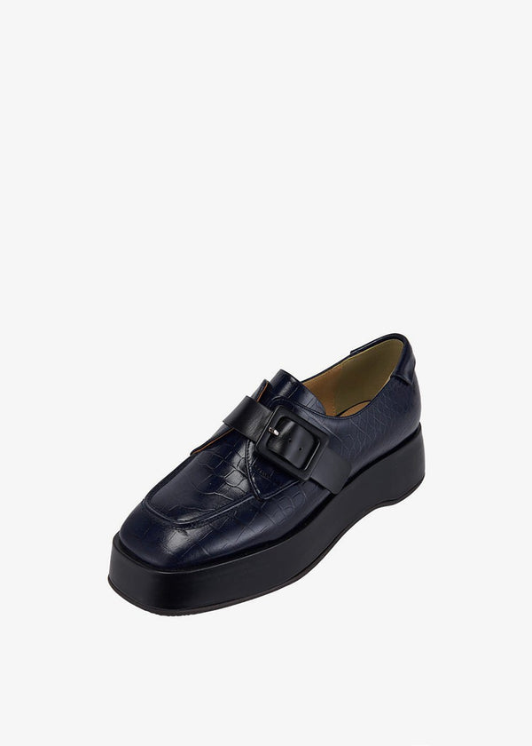 Platform Strap Loafers by Reike Nen in Navy/Black Shoes Reike Nen