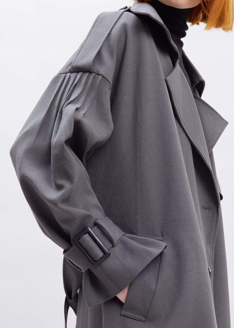 Pleat Sleeve Trench Coat in Shadow Coat More than