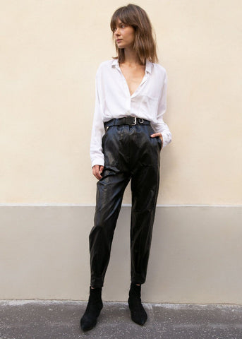 Pleated Cuff Faux Leather Pants in Black Pants Stage