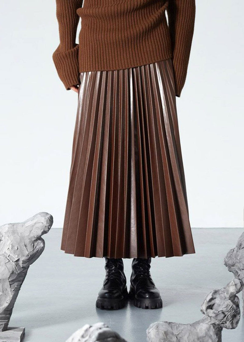 Pleated Faux Leather Midi Skirt in Chocolate Skirt The Frankie Shop
