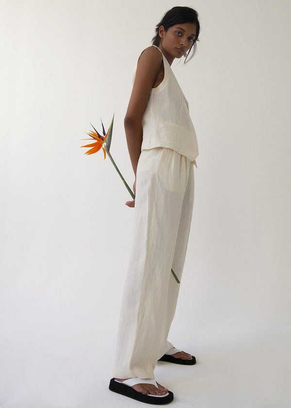 Pleated Front Linen Trousers in Eggshell Pants More than Yesterday