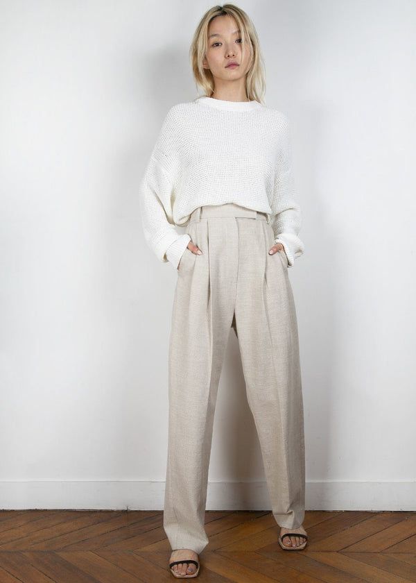 Pleated Linen Blend Pants in Sand Pants Blossom