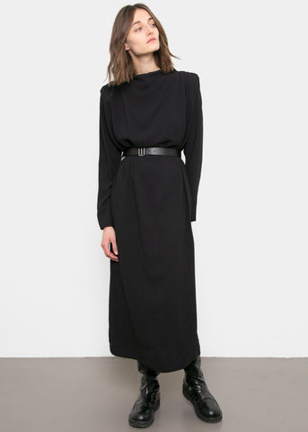 Pleated Shoulder Belted Midi Dress- Black Dress Anna Verry