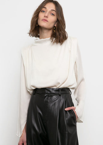 Pleated Shoulder Blouse- Ivory Blouse Anna Verry