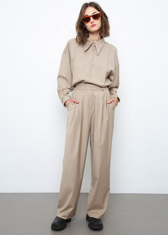 Pleated Tab Tencel Trousers- Tan Pants Beside You