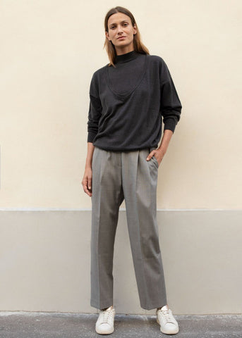 Pleated Tab Trousers in Grey pants Blossom