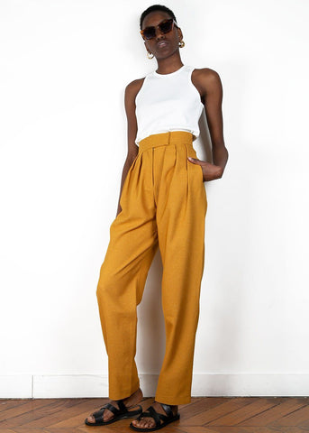 Pleated Twill Pants in Tobacco by Materiel Tbilisi Pants Materiel Tbilisi