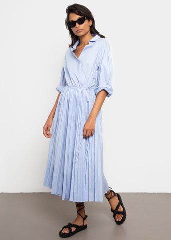 Pleated Wrap Dress with Tassel Belt- Light Blue Dress Earl Grey People