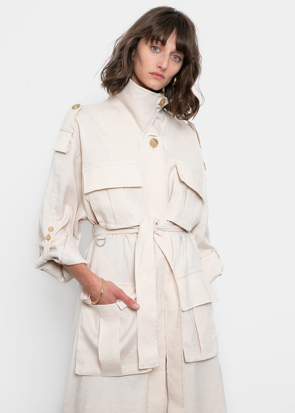 Pocket Trenchcoat by Low Classic- Cream trench Low Classic