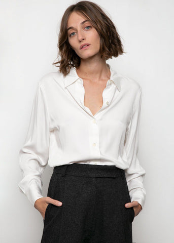 Point Collar Tencel Blouse in Off White Shirt Blossom