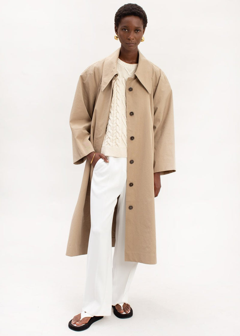Pointed Collar Cocoon Trench Coat in Hemp Coat Kare