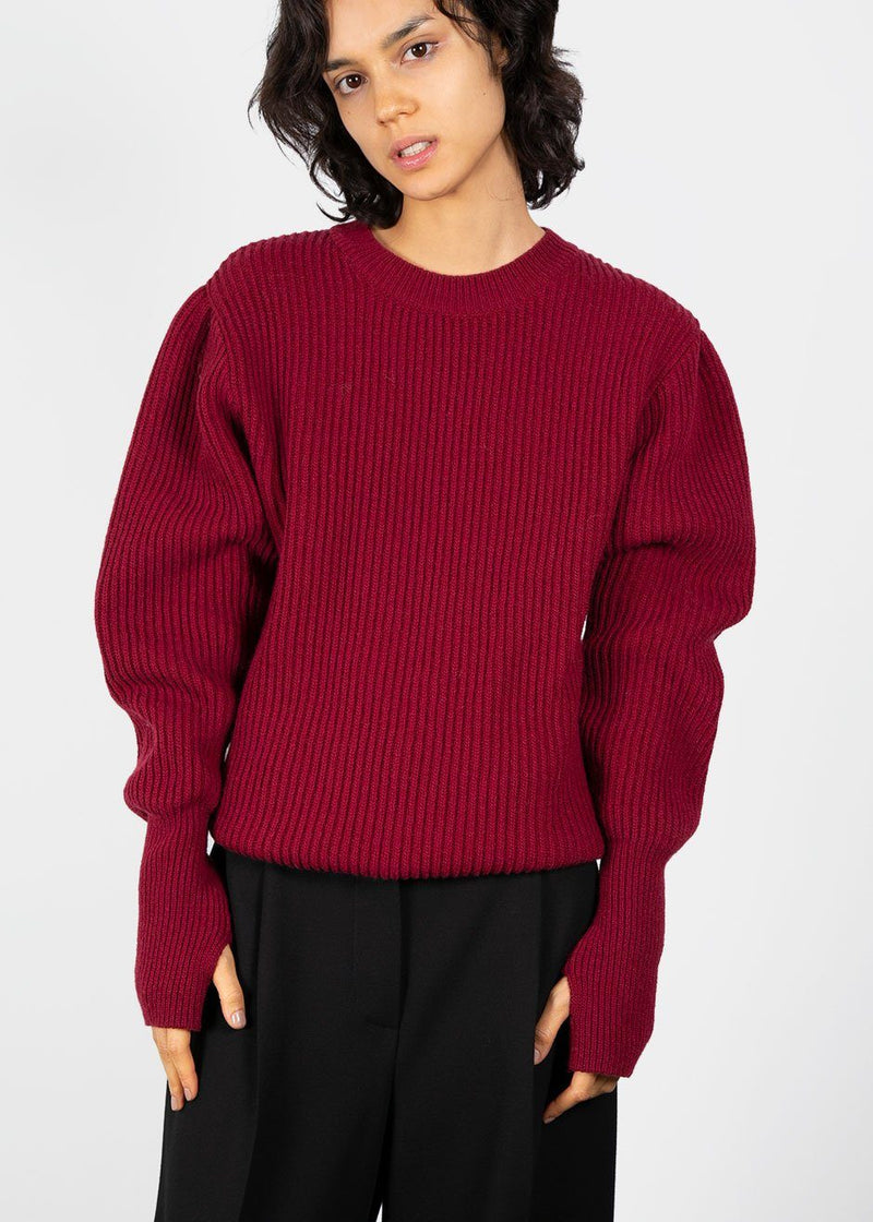 Puff Shoulder Ribbed Sweater- Cranberry Sweater Sllow