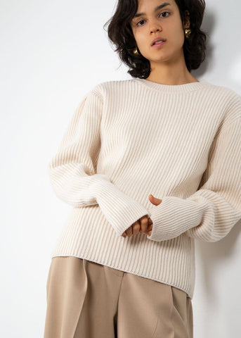 Puff Shoulder Ribbed Sweater- Cream Sweater Sllow