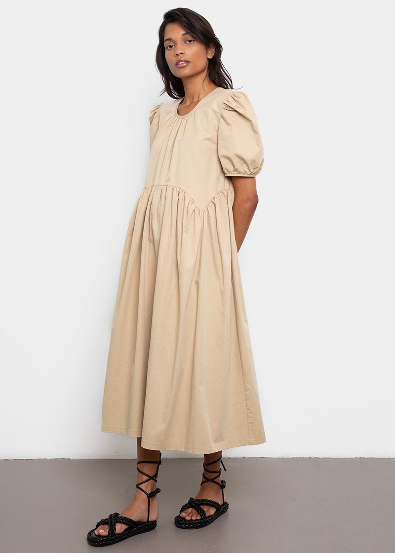 Puff Sleeve Long Cotton Dress- Camel Dress By Flow