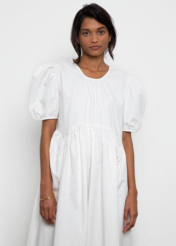 Puff Sleeve Long Cotton Dress- White Dress By Flow