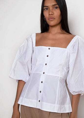 Puff Sleeve Top by Ganni- Bright White Shirt Ganni