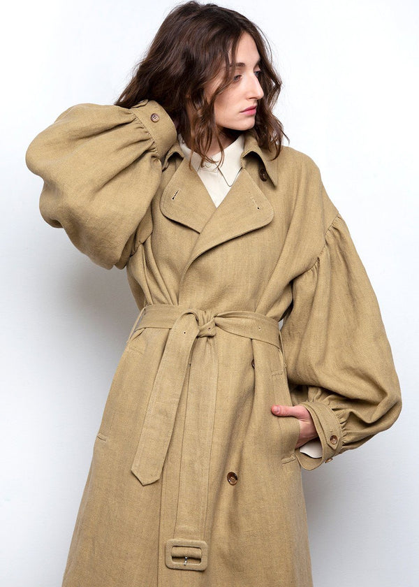 Pukapuka Trench Coat by Loulou Studio- Natural trench Loulou Studio