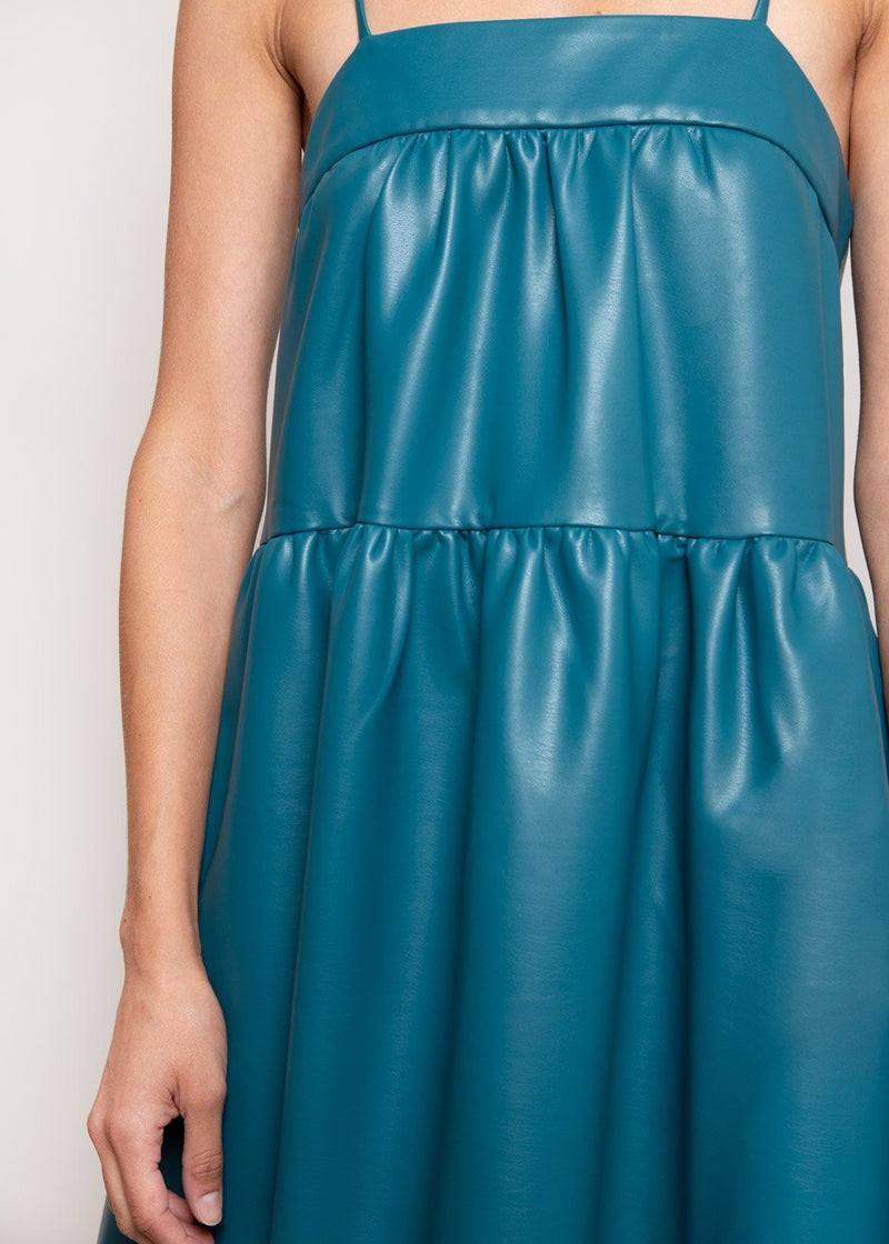 Pumpa Vegan Leather Tank Dress by Simon Miller in Octane Teal Dress Simon Miller