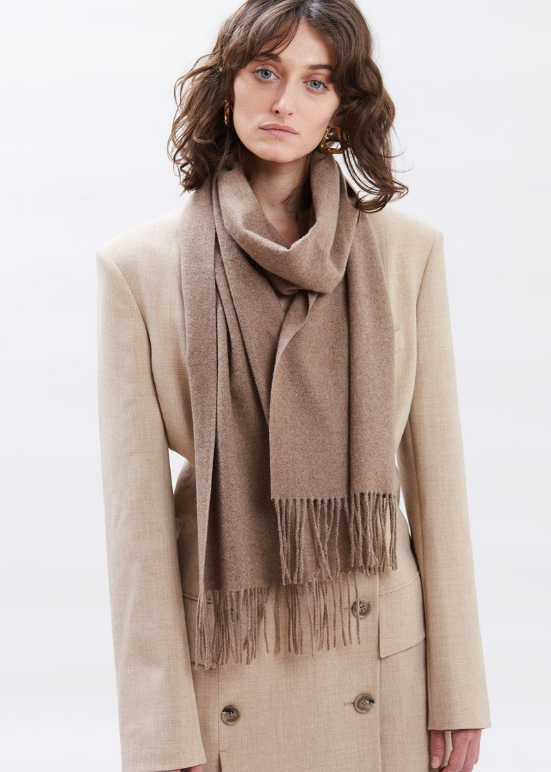 Pure Wool Fringed Scarf in True Taupe Scarf séason