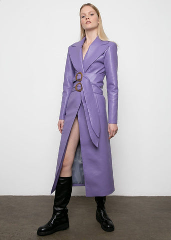 Purple Faux Leather Belted Coat by Materiel Tbilisi Coat Materiel Tbilisi