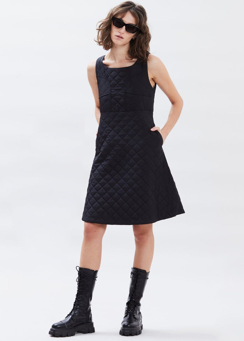 Quilted Nylon Fit and Flare Dress in Black Dress Brick Lane