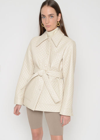 Quilted Shirt Jacket in Beige Coat L'art
