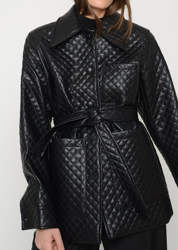 Quilted Shirt Jacket in Black Coat L'art