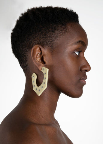 Rachel Comey Balady Earrings in Vanilla and Silver Stud Earrings Rachel Comey