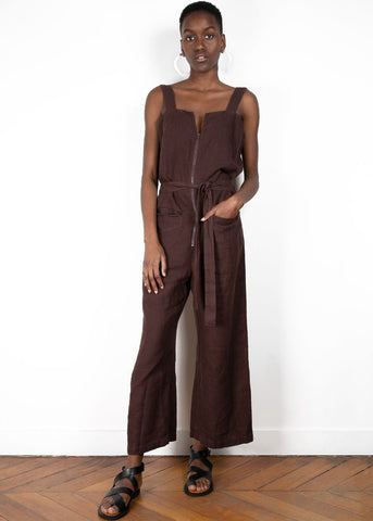 Rachel Comey Bend Linen Jumpsuit in Brown Jumpsuit Rachel Comey