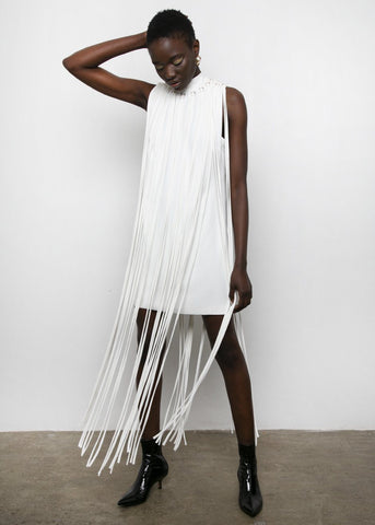 Rachel Comey Fever Fringed Dress in White Pebble Dress Rachel Comey
