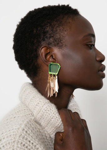 Rachel Comey Miranda Earrings- Neon Yellow-Beige Earrings Rachel Comey