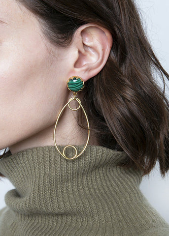 Rachel Comey Regina Earrings in Gold-Malachite Earrings Rachel Comey