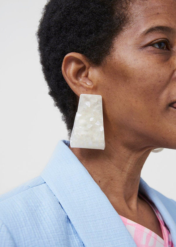 Rachel Comey Slalom Earrings- White Digital Marble Earrings Rachel Comey