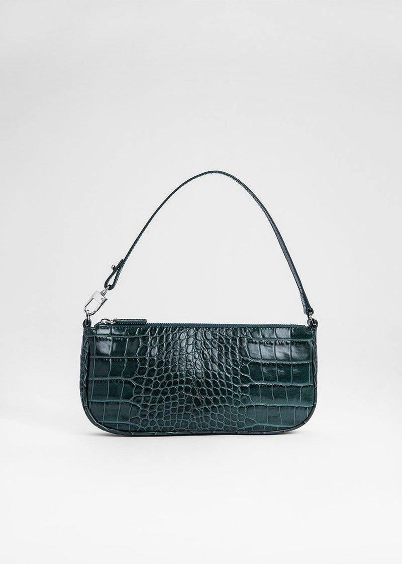 Rachel Croc Embossed Leather Bag by BY FAR in Dark Green Bag By Far