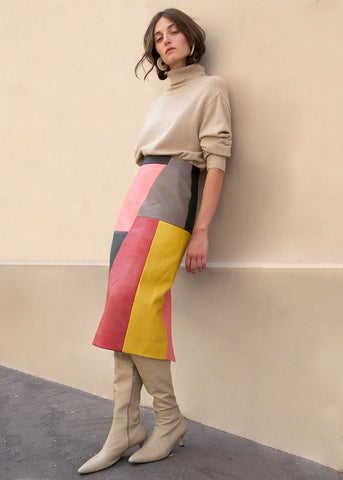 Raoul Colorblock Leather Skirt by Eudon Choi Skirt Eudon Choi